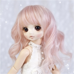 1/6 peach pink long curl wig